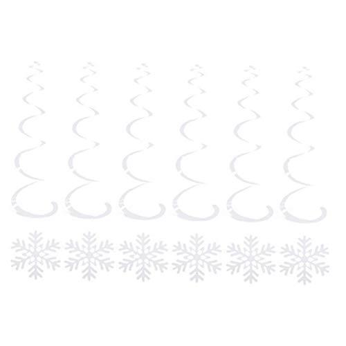 nJiaMe Copo De Nieve Colgantes De Plata del Remolino De Navidad Decoración De Navidad Banner Ornamento Winter Wonderland Partes del Año Nuevo 6pcs