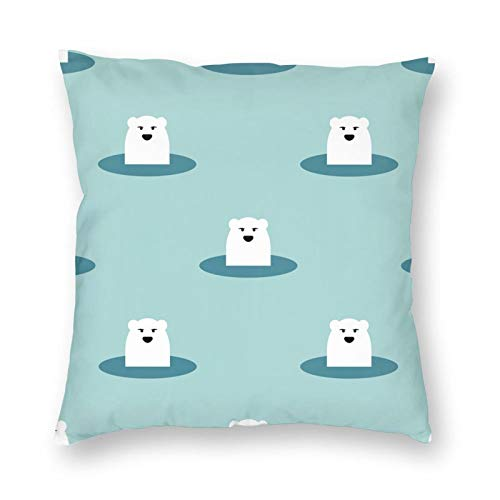 Nixboser Funda de almohada de poliéster con diseño de oso polar ártico, diseño de oso del norte, sin hielo, para sofá, sala de estar, cama, coche, 16 x 16 pulgadas