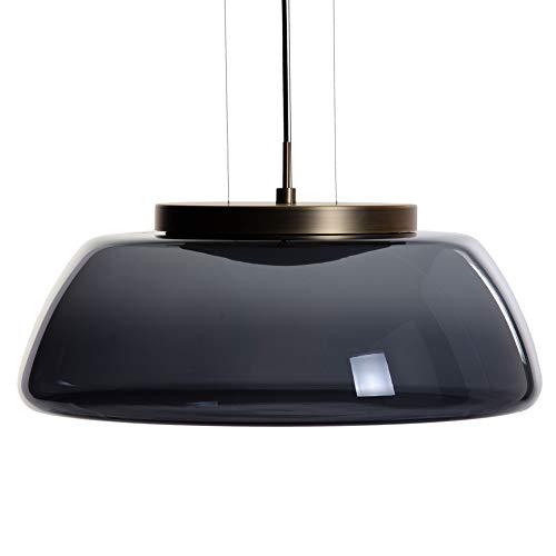 Lámpara de techo tulipa de metal y cristal negra y dorada de Ø 50x22 cm - LOLAhome