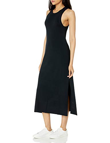 The Drop Women's Gabriela High Neck Cut-In A-Line Side Slit Maxi Sweater Dress, Black, L