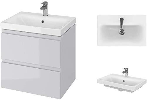 VBChome Badmöbel Slim 60 cm Grau Waschbecken mit Unterschrank Waschtisch 2-Schubladen Moduo