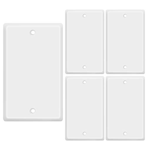 TNP Blank Wall Plate Outlet Cover - Blank Faceplate Socket Insert Jack Plug Panel Cover Single Gang Standard Size (5 Pack,White)