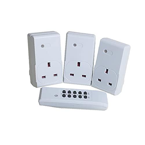 X-DREE 3 Pcs Inalámbrico 240 VCA Reino Unido Energía Toma de corriente Toma de corriente con control remoto(3 Pcs Wireless 240 νAC U-K p-lug Energy Saving Mains s-ocket Switch Outlet w Remote Control
