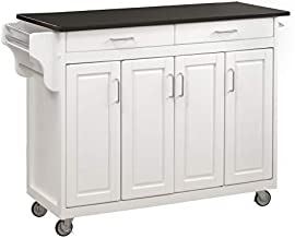 Home Styles Mobile Create-a-Cart White Finish Four Door Cabinet Kitchen Cart with Black Granite Top, Adjustable Shelving
