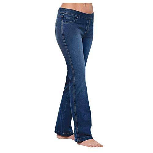 Femmes Flare Jeans Button Waist Bell Bottom Denim Pants Jean Bootcut Femme Evasé Pantalons Grande Taille Haute avec des Poches DéContracté Casual à La Mode YUYOUG
