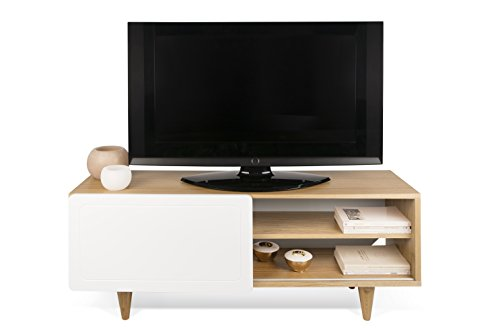 TemaHome Nyla Table TV, Chêne, Blanc, 120 x 34 x 50 cm