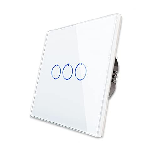 CNBINGO Interruptor de luz triple, color blanco, interruptor táctil, con panel táctil de cristal y LED de estado, no se necesita conductor neutro, interruptor de 3 vías, AC 240 V, 800 W/compartimento