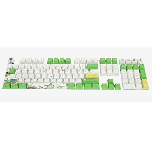 Njuyd Lotus - Teclado mecánico de 108 teclas de sublimación PBT color 108 teclas PBT Keycaps Lettering Teclas OEM Inyección Tapa de tecla Verano Lotus Mecánico Tecla de Tecla Tecla de Verano
