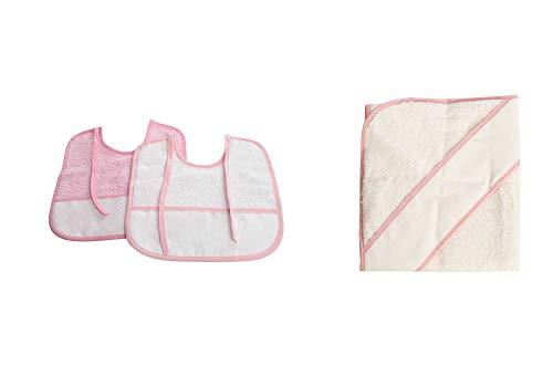 PURALGO-puro algodón. Toalla para bebés de punto de cruz, con capucha. (ROSA)