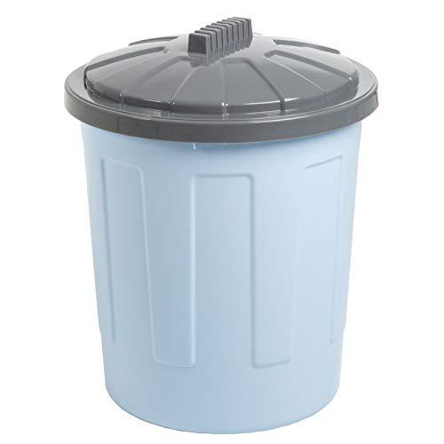 Mülleimer mit Deckel 21 Liter groß rund Ø34x44cm geruchsdicht hellblau Kunststoff Kosmetikeimer Eimer Abfalleimer Abfallbehälter Abfallsammler Windeleimer Papierkorb Mülltonne Müll Küche Büro Bad