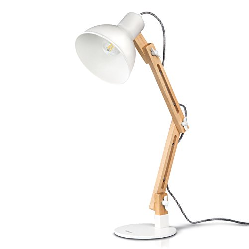 tomons LED Leselampe im klassichen Holz-Design, Schreibtischlampe, Tischleuchte Verstellbare, Lampe mit verstellbarem Arm, Augenfreundliche Leselampe, Arbeitsleuchte, Bürolampe, Nachttischlampe