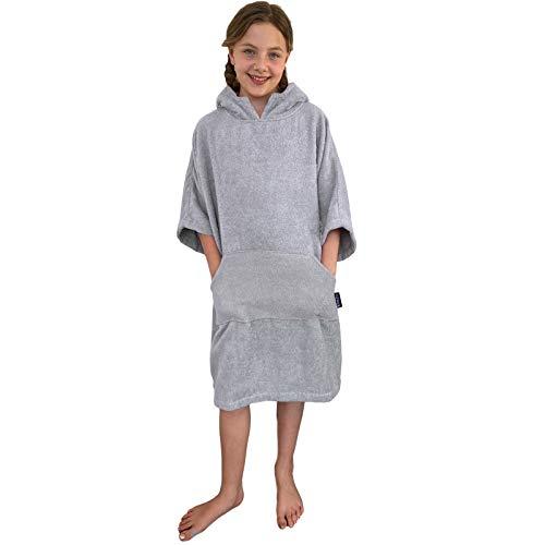 HOMELEVEL Kinder Surfponcho 100% Baumwolle Strandponcho Poncho Badeponcho Strandtuch Handtuch Cape Velours Frottee Badetuch mit Kapuze Hellgrau 6-9 Jahre