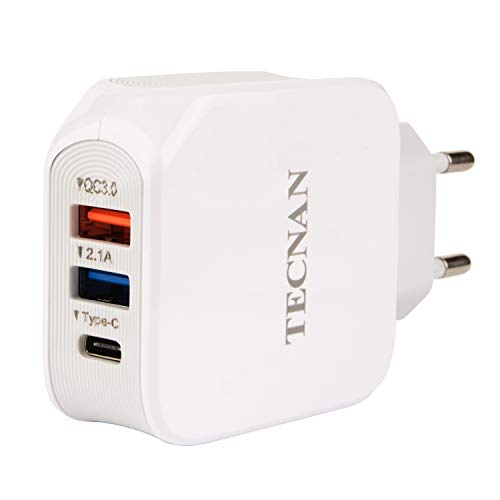 tecnan Quick Charge 3.0 lader 25W voeding 3 USB type-C aansluiting stekker adapter laadstekker oplader voor iPhone X XS max Xr 7 8 Plus, iPad, Samsung Galaxy Note 9 / S9 / S8 Plus, Huawei P20 Pro