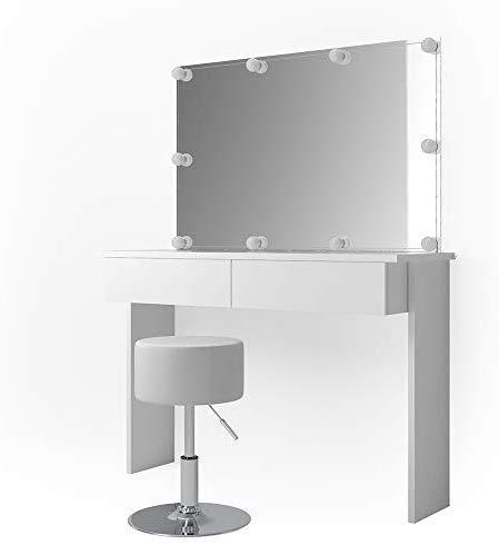 Vicco LED Schminktisch Azur Frisiertisch Kommode Weiß Hochglanz Frisierkommode Schminkkommode mit Hocker Spiegel und LED Beleuchtung