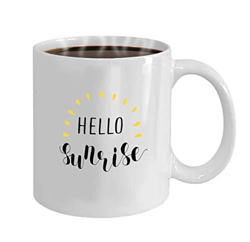 Tazas de te Hola ilustración de letras de amanecer Taza para oficina y hogar