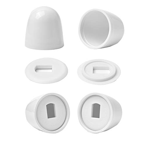 Jwodo Toilet Bolt Caps, 4Packs Universal Plastic Round Push-On Toilet Bowl Caps Covers, with Extra Washers for Easy installation, 1.43 Inch Height, White Color