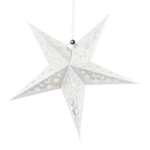 Oulii Papierstern-Laterne, 3D-Pentagramm-Lampenschirm, für Weihnachten, Party, Geburtstag, Zuhause, Hängedekoration (silberfarben), 30 cm