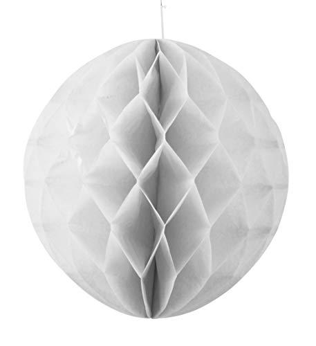 AM-Design Papierball Papierkugel D 20 cm zum Hängen im 3er-Set   Papier Weiß Gefaltet   Papierdeko Hängedeko Fensterdeko Sommer