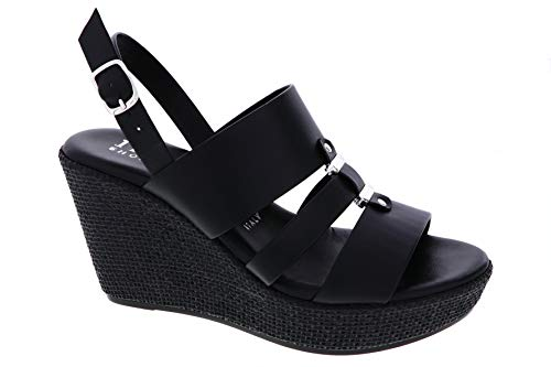 ITALIAN SHOEMAKERS Womens Britt Fashion Wedge Sandals Made in Italy,Black,7.5