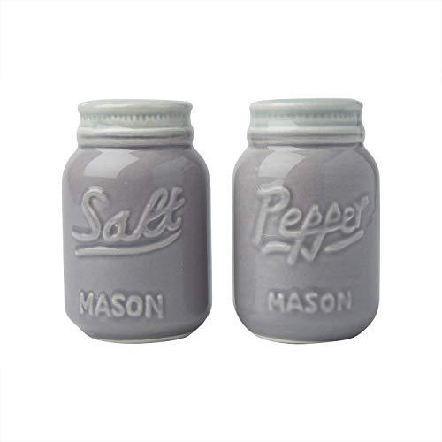 Comfify Vintage Mason Jar Salz & Pfeffer Streuer Bezauberndes dekoratives Mason Jar Dekor für Vintage-, Rustikal- und Shabby Chic-Liebhaber - Robustes Keramik in Grau - 3,5 oz. Kapazität