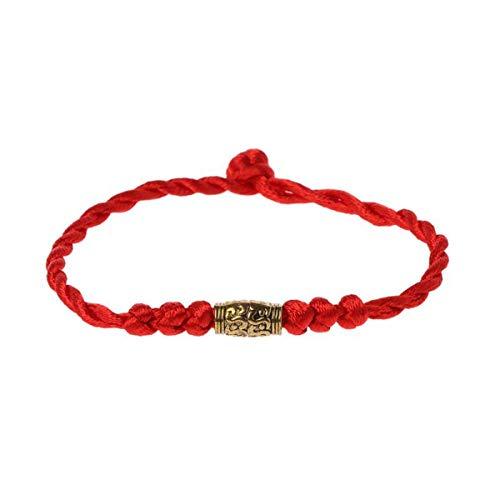 Greatangle Pulsera de la Suerte de Hilo Rojo de Plata tibetana Tradicional, Amuleto de Cadena, Pulsera de Pareja, joyería para Mujeres y Hombres con Oro
