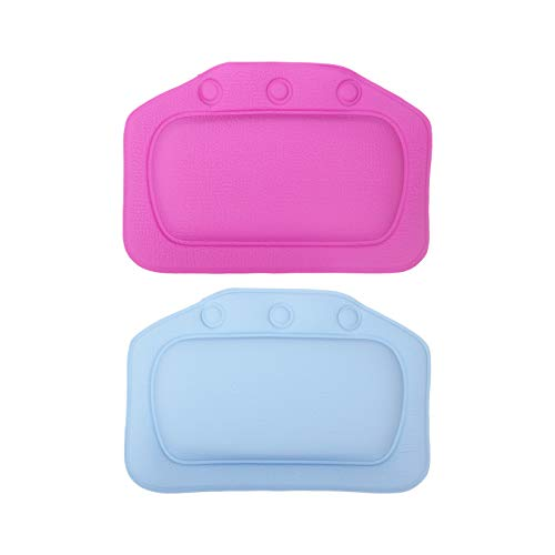 LAHONI 2 Pieces Bath Pillow Waterproof Spa Bathtub Pillow Bathtub Headrest Suction Cup Bathroom Supplies,Purple&Blue