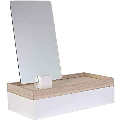 THE HOME DECO FACTORY HD2303 Boite à Bijoux Miroir à Poser Modèle Aléatoire, MDF, Blanc-Beige Gris-Beige, Dimensions : 25 x 12 x 8,5 cm