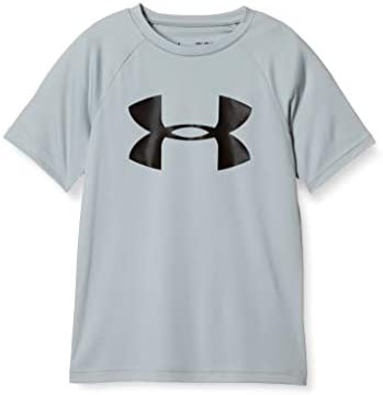 Under Armour Boys Tech Big Logo Short Sleeve Gym T Shirt Mod Gray Light Heather 012 Black Youth product image