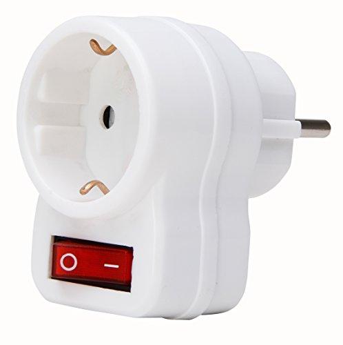 Kopp 470112003 Zwischenstecker mit Schalter arktis-weiß, 250 V