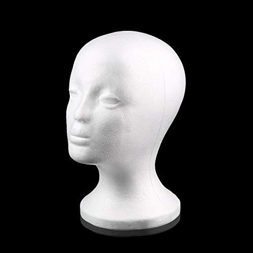 RoxTop White Female Styropor Mannequin Manikin Kopf Modell Schaum-Schwamm-Perücke Haar Brille Anzeigen-Glas-Cap-Ausstellungsstand Weiß