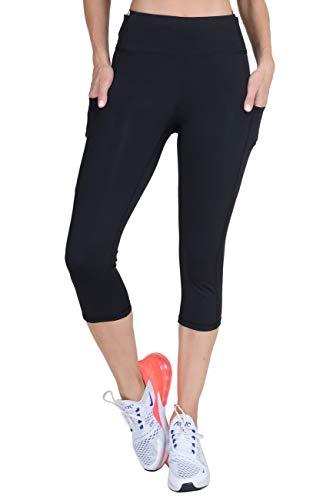YELETE Side Pocket Performance Capri Leggings Plus Size Black Color Size XXL