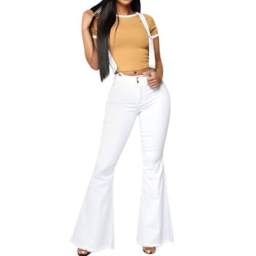 Vectry Mujer Cintura Alta Pantalones Vaqueros con Cremallera Pantalones con Correa De Botones Pantalón con Parte Inferior De Campana Leggings Mujeres Pantalones Pierna Ancha Pantalones Pantalo
