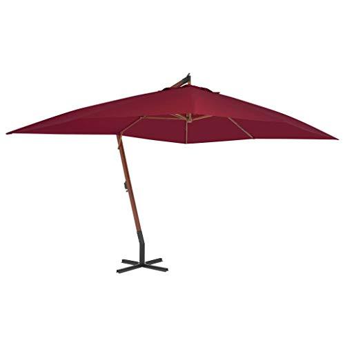 Tidyard Zweefparasol Parasol Voor Buiten met Houten Paal 400x300 cm Bordeauxrood