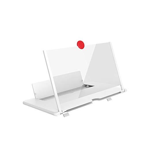 Lupa de pantalla LYEC3, soporte plegable para teléfono móvil con amplificador de pantalla, lupa de 12 pulgadas HD para proyector 3D de vídeo y transmisión en vivo (blanco)