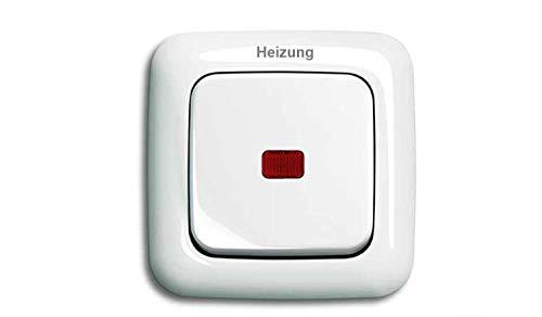 BUSCH JÄGER Komplettset Heizung-Not-Schalter – 2-polig – Heizungnotschalter mit Schriftzug: Heizung – Wippkontrollschalter 2-polig mit Beleuchtung, rote Kalotte, Typ: Reflex SI alpinweiß Notschalter