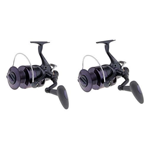sharprepublic 2pcs 60FR Baitfeeder Spinning Fishing Reel Front Rear Drag Aluminium Carrete