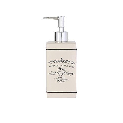 axentia París dispensador de jabón, gres, Crema, Aprox. 7,5 x 20 x 7,5 cm
