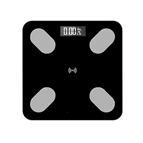 LKK-KK Con un Peso báscula de baño de la Escala, Escalas del hogar Inteligente Soporte Premium Bluetooth APPFat Porcentaje de Grasa Corporal Digital Escala de pesaje, 150Kg, Negro