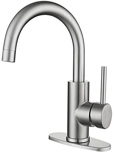 Modern Bar Sink Faucet in Stainless Steel, Single-Handle 360° Swivel Bathroom Lavatory Sink Faucet, Small Kitchen Sink Faucet Mixer, Bathroom Faucet with Deck Plate