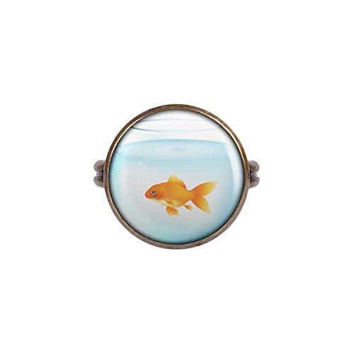 Mylery Anillo con Motivo Oro Fish Bowl de Tanque Acuario Bronce 16mm