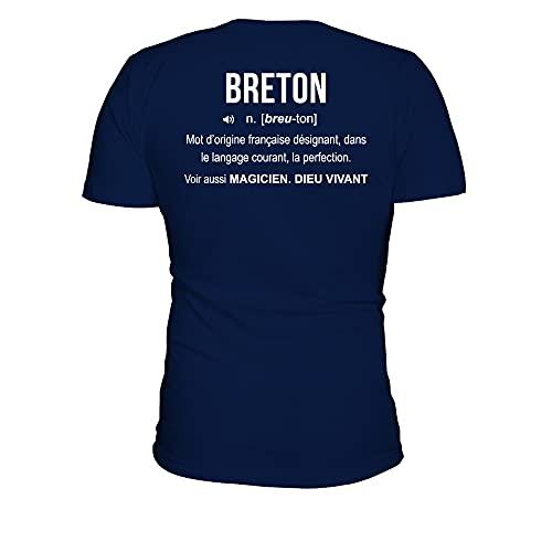 TEEZILY T-Shirt Homme Breton Définition - Bleu Marine - XL