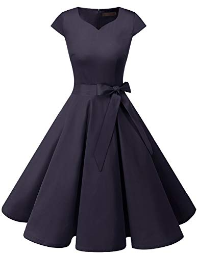 DRESSTELLS Retro 1950s Solid Color Cocktail Dresses Vintage Swing Dress with Cap-Sleeves Navy S