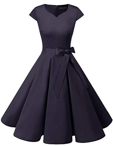 Dresstells Damen Vintage 50er Cap Sleeves Rockabilly Swing Kleider Retro Hepburn Stil Cocktailkleid Navy L