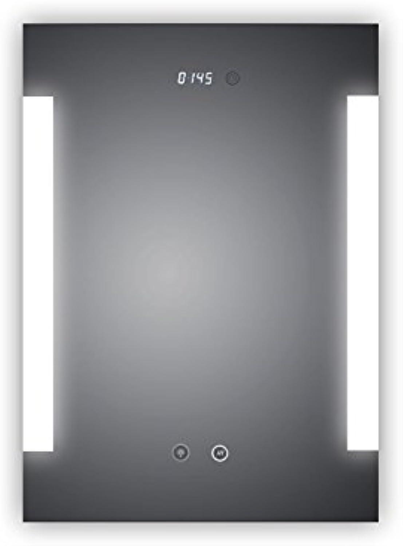 HOKO LED Bad Spiegel beleuchtet mit Digital Uhr und ANTIBESCHLAG SPIEGELHEIZUNG, Fulda 50x70cm, Badezimmerspiegel mit Licht seitlich, Energieklasse A+ (WEEE-Reg. Nr.  DE 40647673)
