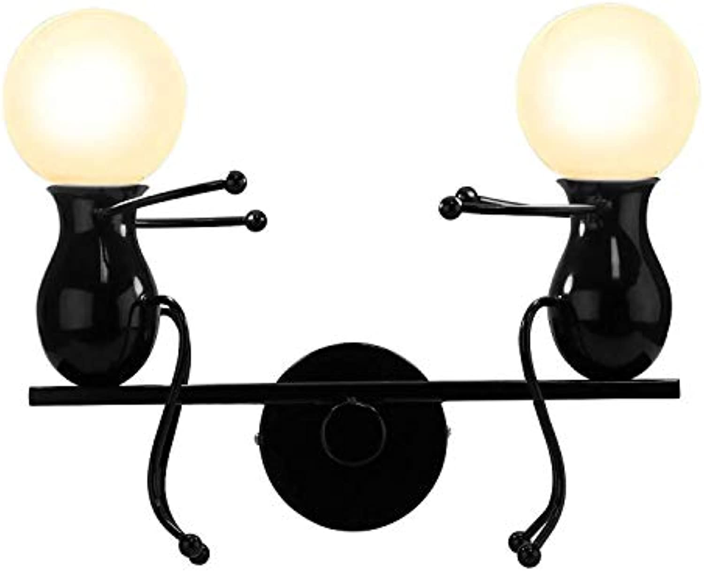 Eisen Kreative Wandleuchte Retro Wand Lampen Schlafzimmer Modern Decor Metall Wandleuchte Nachttischlampe Cartoon Lampe (Schwarz)