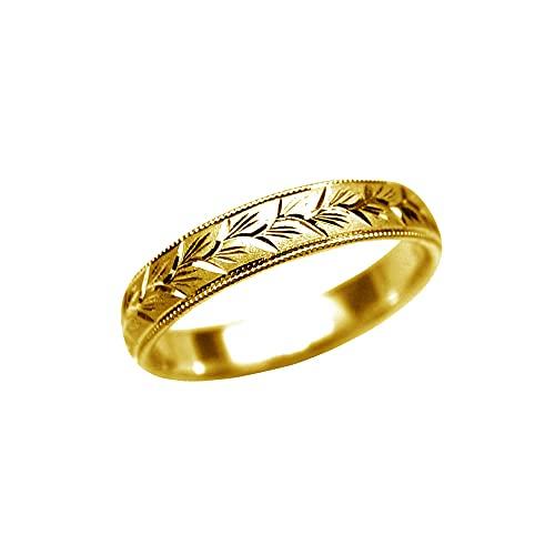 純金リング 大きいサイズ 指輪 K24 平甲丸 麦穂彫巾4mm7g 手彫彫金 マリッジ 高密度 花言葉(22号)