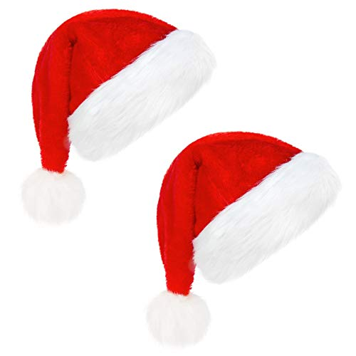 Acerich Christmas Santa Hats for Adults, 2 Pcs Velvet Santa Hat for Xmas Party Red