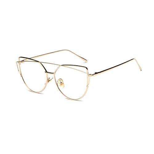 Fashion Sonnenbrille FORH Unisex Damen Herren Klassische Metallrahmen Sonnenbrille Vintage Katzenauge Spiegel Sommer StrandBrille Gleitsicht Sonnenbrille Eye Glasses (Gold B)