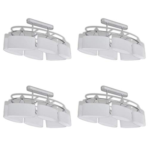 vidaXL 4x Plafondlamp met Ellipsvormige Glazen Kap E14 Lamp Licht Verlichting