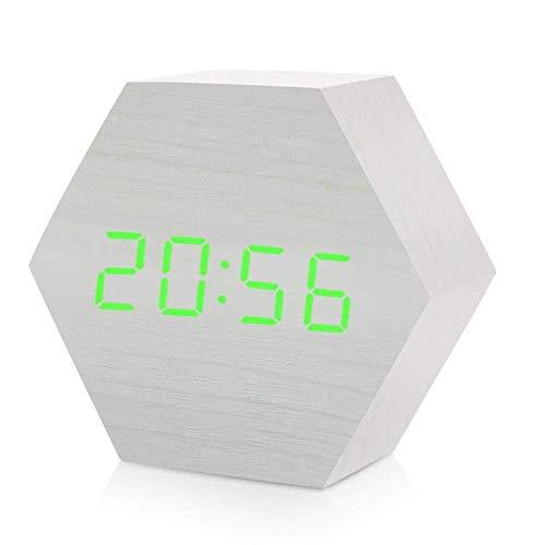 DZXYW Reloj Despertador Despertador Digital de Madera, además del Reloj con Pantalla de Temperatura, Control de Voz Hexagonal, batería Recargable USB